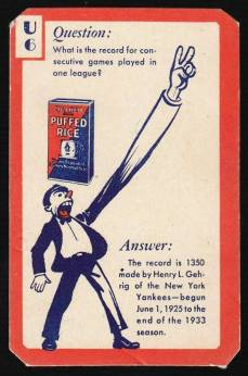 Lou Gehrig 1934 Quaker Oats Puffed Wheat Ask Me Trivia Card
