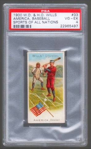 Wills Sports of All Nations Baseball America PSA 4