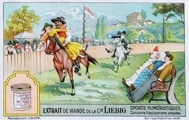 1929 Liebig Humorous Sports Horse Show with Dolls Trade Card