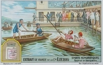 1929 Liebig Humorous Sports Trade Card Tournament in Trays