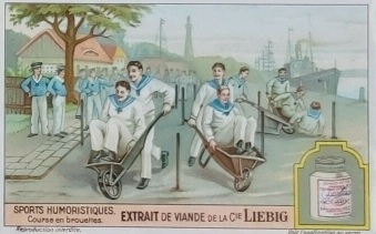 1929 Liebig Humorous Sports Wheelbarrow Race Trade Card