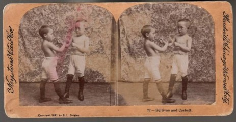 John Sullivan James Corbett 1892 Stereograph Horizontal