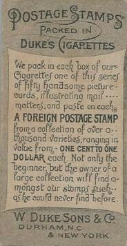 N85 Duke Postage Stamps Back