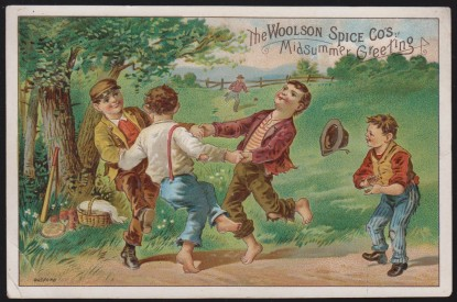 220 Woolson Spice Lion Coffee Trade Card Bufford Boys Dancing Trade Card