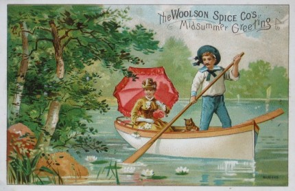 Woolson Spice Lion Coffee Boating Trade Card