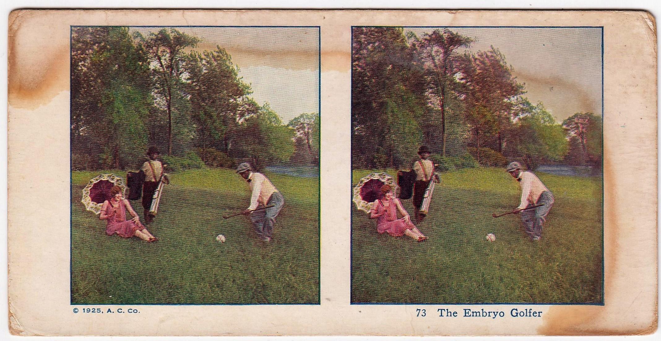 1925 AC Stereoview Golf Card